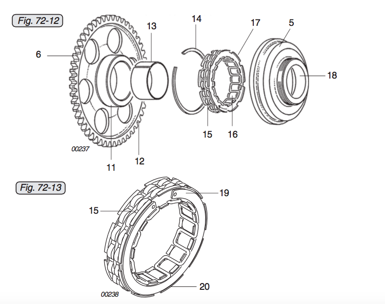 the sprag assembly in your rotax 912 series engine comprises of 4 parts the  sprag housing (5), the sprag clutch (17), the circlip (14) & the free wheel  (6)