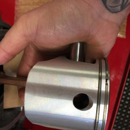 Piston pin installed by hand